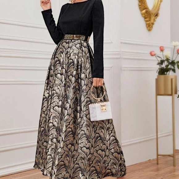 Black Floral Jacquard Maxi Dress in S, M, L, XL